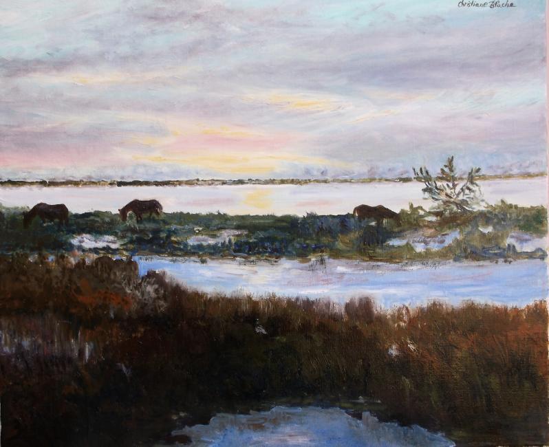 Artiste : BLACHE Christiane  /  Titre : Camargue, crépuscule dans les marais.