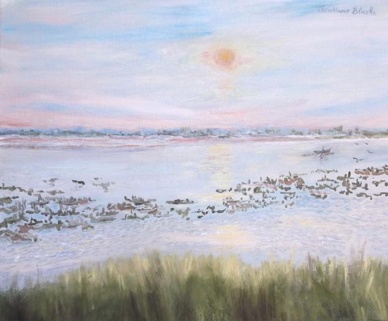 Artiste : BLACHE Christiane  /  Titre : camargue, fin d'après-midi dans les marais.