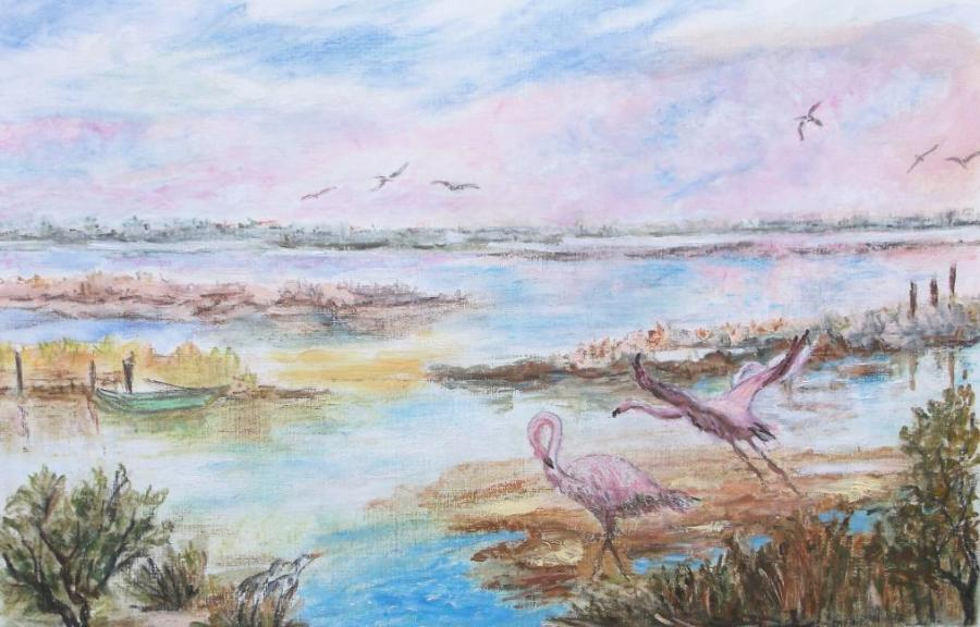 Artiste : BLACHE Christiane  /  Titre : Camargue, Les Flamants.