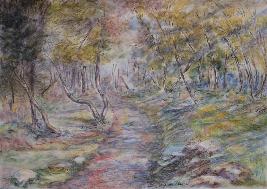 Artiste : BLACHE Christiane  /  Titre : MONT-BORON (COTE D'AZUR), forêt en fin d'hiver