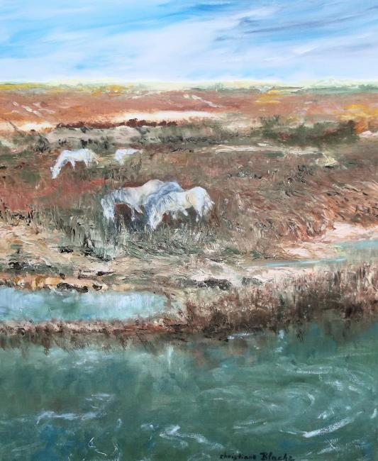 Artiste : BLACHE Christiane  /  Titre : Automne en Camargue, les chevaux.